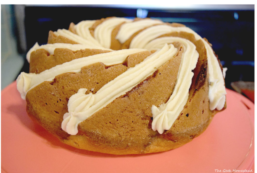 maple brown sugar cinnamon bundt cake decorated