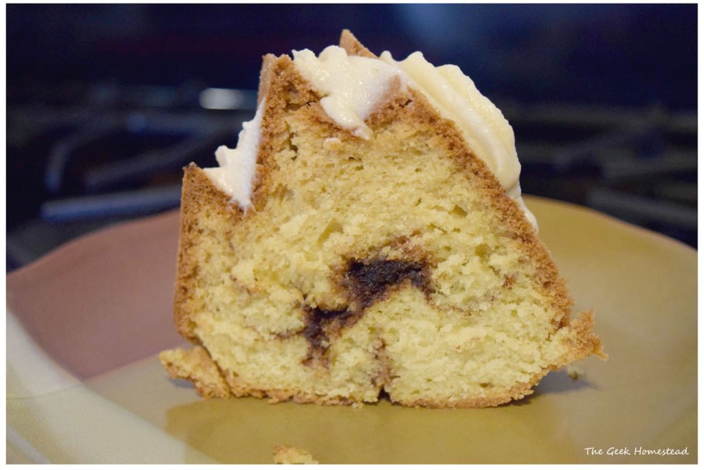Slice of maple brown sugar cinnamon bundt cake