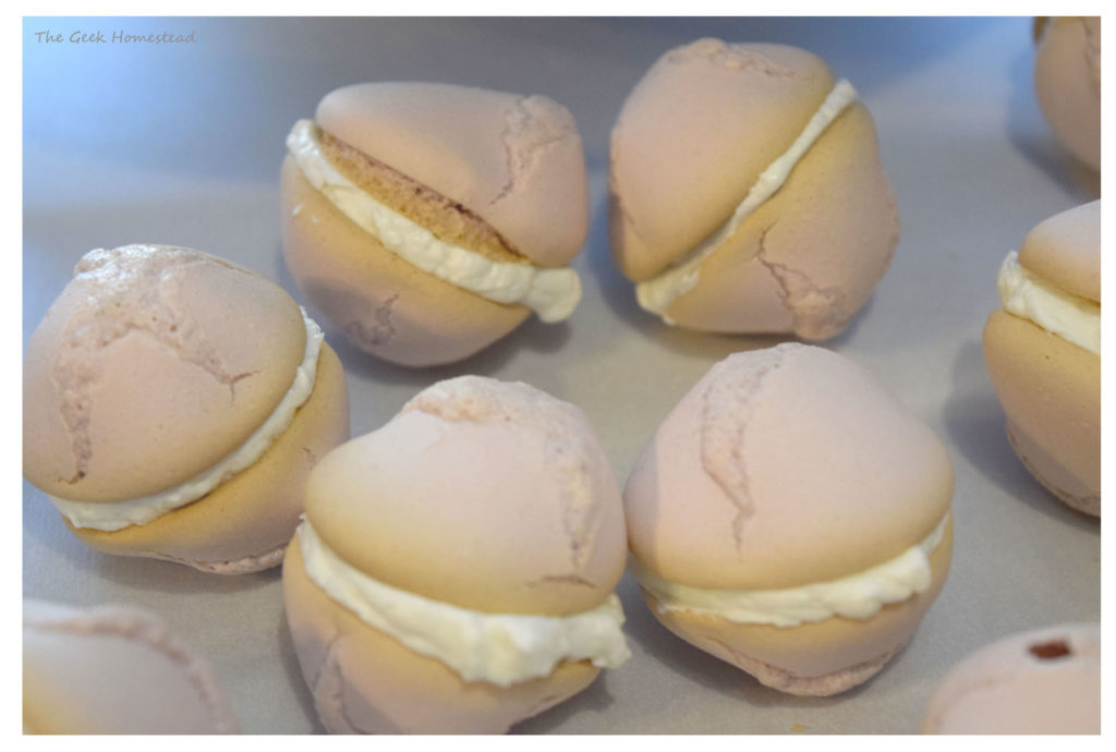 lavender volcano macarons filled with buttercream