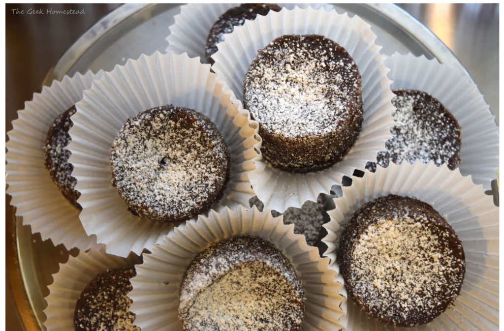 Chocolate bouchons ready to serve, dusted with powdered sugar