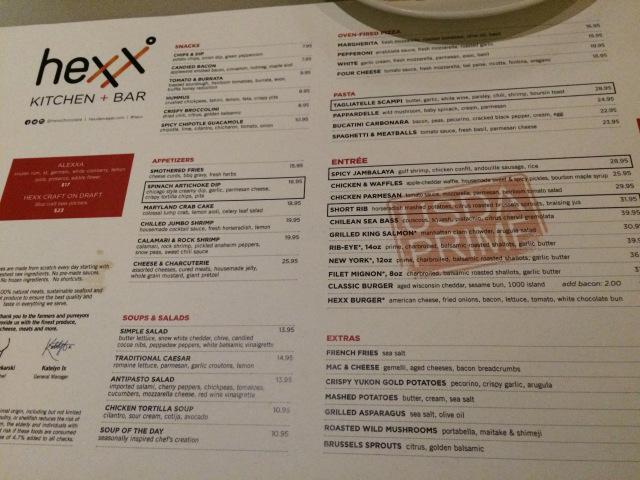 the menu at hexx in Las Vegas