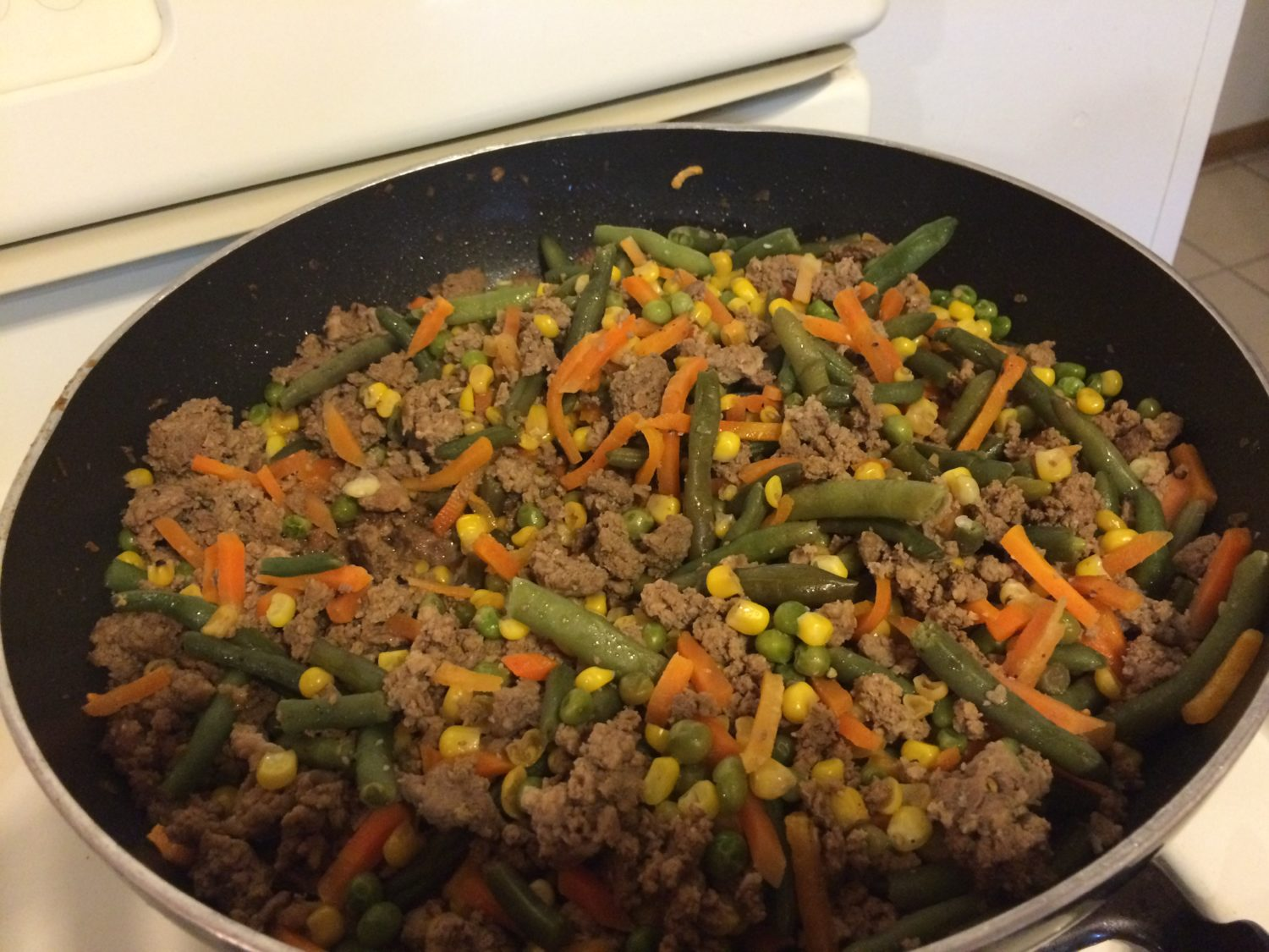 First, I cook the filling in a huge wok. I love my nonstick wok.