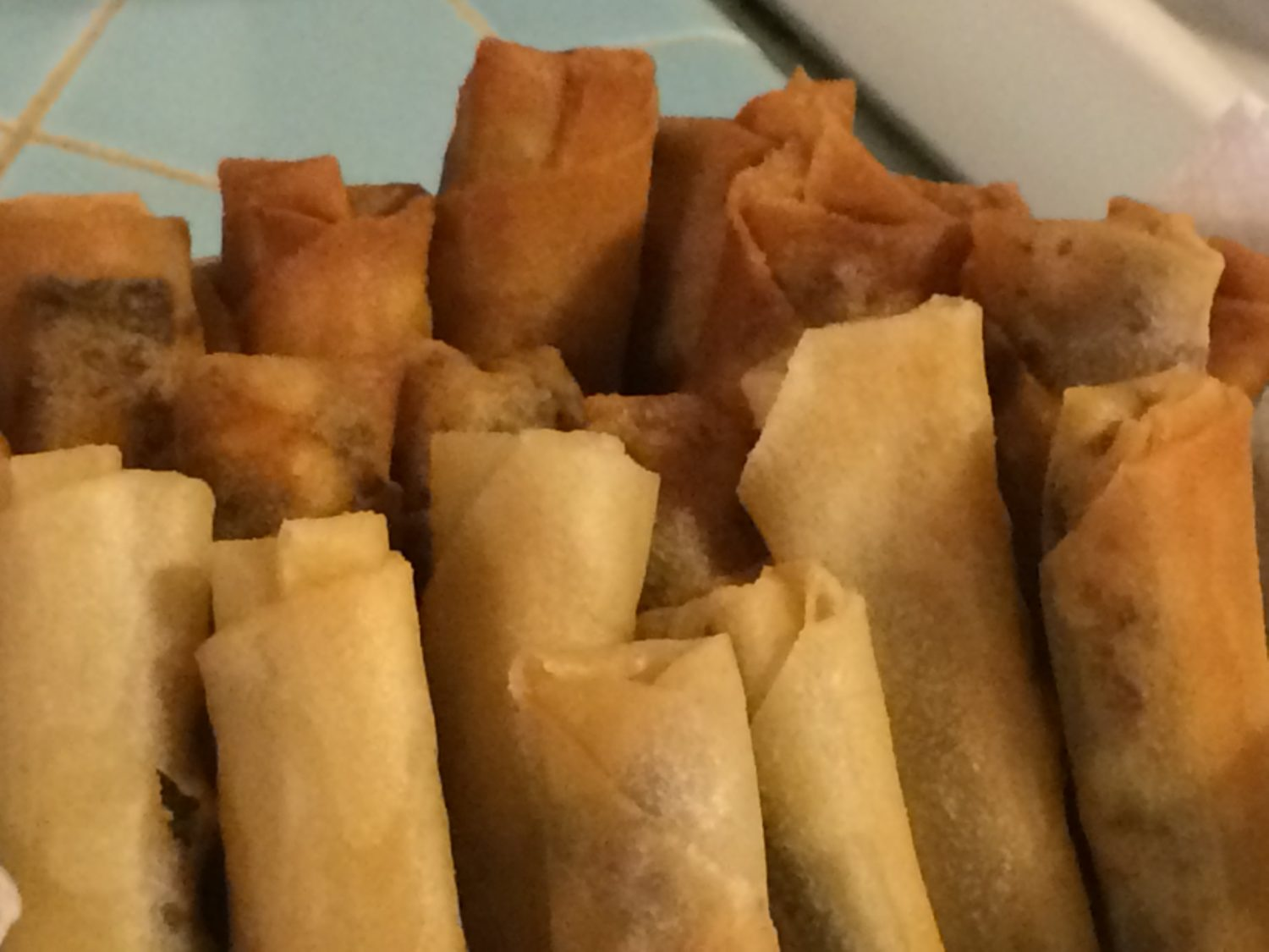 Eggrolls! Yum! All ready to eat with some sweet and sour sauce and hot cooked rice! These aren't authentic lumpia but they still taste good!